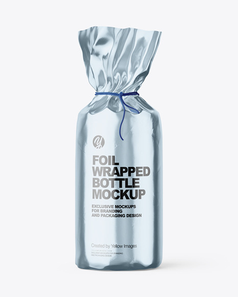 Glossy Metallic Foil Bottle Wrapping With Rope Mockup - Front View