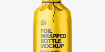 Matte Alluminium Metallic Foil Bottle Wrapping With Rope Mockup - Front View