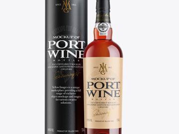 Tawny Port Wine Bottle with Tube Mockup