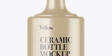 Glossy Ceramic Bottle Mockup
