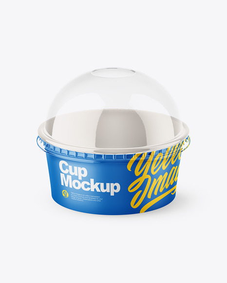 Small Matte Paper Cup With Transparent Plastic Cap Mockup - Half Side View
