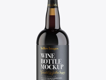 Amber Porto Wine Bottle Mockup