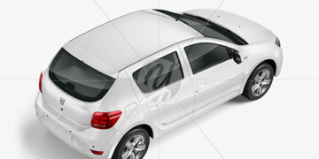 Hatchback Mockup - Back Half Side View (High-Angle Shot)