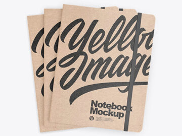 Set of Three Kraft Notebooks Mockup