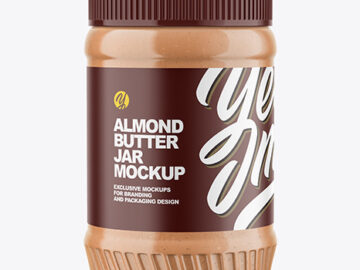 Clear Plastic Jar with Almond Butter Mockup