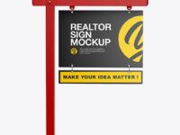 Matte Realtor Sign Mockup - Front View