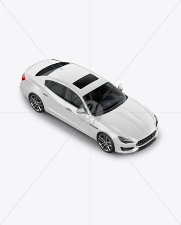 Luxury Sedan Mockup - Half Side View (High Angle Shot)