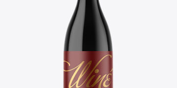Dark Glass Wine Bottle Mockup