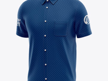 Men's Short Sleeve Shirt Mockup - Half Side View