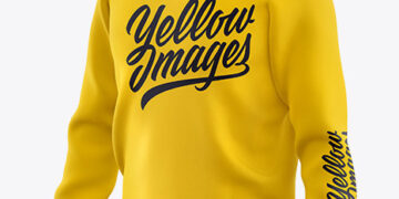 Men's Raglan Sweatshirt Mockup - Front Half Side View