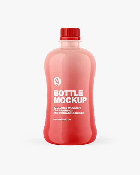 Glossy Bottle With Paper Label Mockup