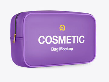 Cosmetic Bag Mockup - Half Side View