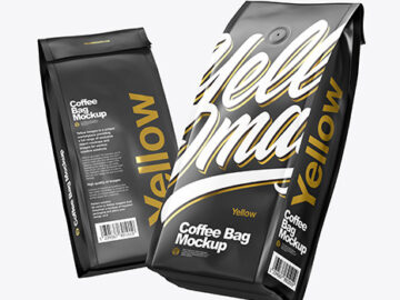Two Matte Coffee Bag Packaging Mockup