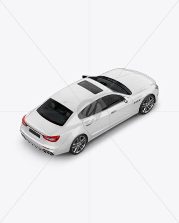 Luxury Sedan Mockup - Back Half Side View (High Angle Shot)