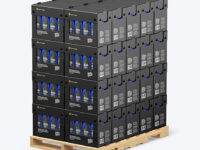 Wooden Pallet with Matte Bottles in Paper Boxes