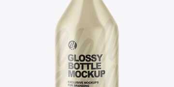 Glossy Ceramic Bottle With Cork Mockup