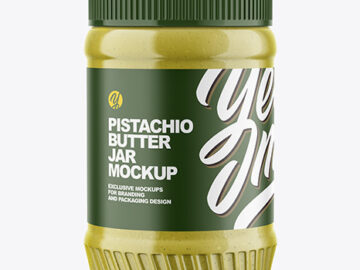 Clear Plastic Jar with Pistachio Butter Mockup