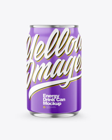 250ml Metallic Drink Can With Glossy Finish Mockup