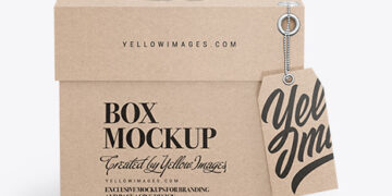 Kraft Cardboard Box with Label Mockup