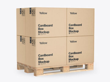 Wooden Pallet With Kraft Cardboard Boxes Mockup