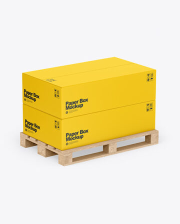 Wooden Pallet With Two Paper Boxes Mockup