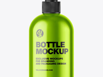 Metallic Sanitizer Bottle w/ Closed Pump Mockup