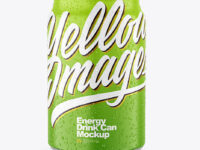 250ml Metallic Drink Can With Matte Finish And Condensation Mockup