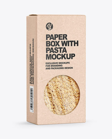 Kraft Paper Box with Stelline Pasta Mockup