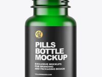 Empty Frosted Green Pills Bottle Mockup
