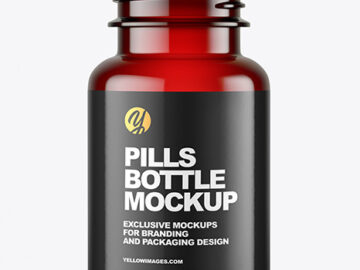Empty Red Pills Bottle Mockup