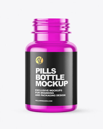 Empty Colored Pills Bottle Mockup