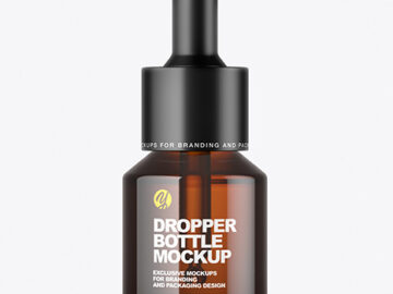 Amber Dropper Bottle Mockup