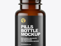 Empty Dark Amber Pills Bottle Mockup
