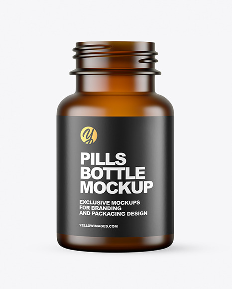 Empty Frosted Amber Pills Bottle Mockup