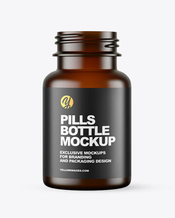 Empty Frosted Dark Amber Pills Bottle Mockup