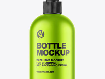 Matte Metallic Sanitizer Bottle w/ Closed Pump Mockup