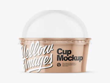 Small Glossy Plastic Cup With Transparent Dome Cap Mockup - Front View