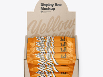 Kraft Display Box with Snack Bars Mockup