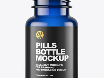 Empty Blue Pills Bottle Mockup