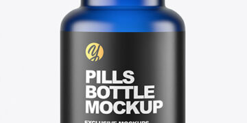 Empty Frosted Blue Pills Bottle Mockup