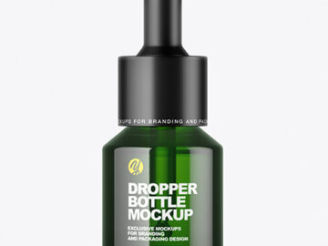 Green Dropper Bottle Mockup