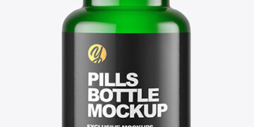 Empty Green Pills Bottle Mockup