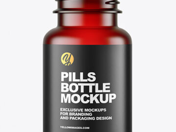Empty Frosted Red Pills Bottle Mockup
