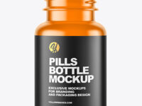 Empty Frosted Colored Pills Bottle Mockup