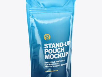 Glossy Stand Up Pouch Mockup - Half Side View