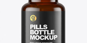 Dark Amber Pills Bottle Mockup