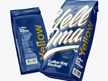Two Glossy Coffee Bag Packaging Mockup