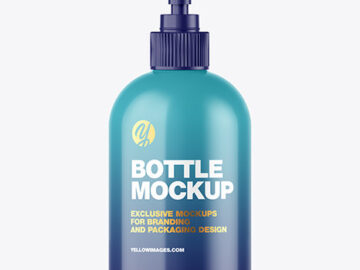 Glossy Bottle w/ Open Pump Mockup