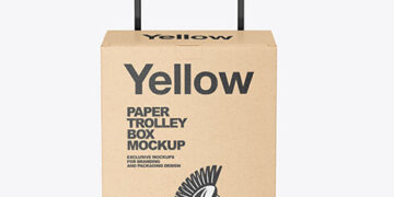 Kraft Paper Trolley Box Mockup