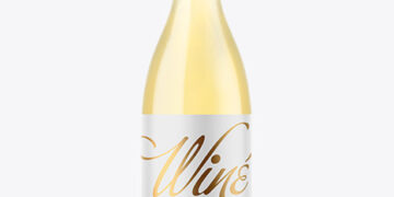 Clear Glass White Wine Bottle Mockup